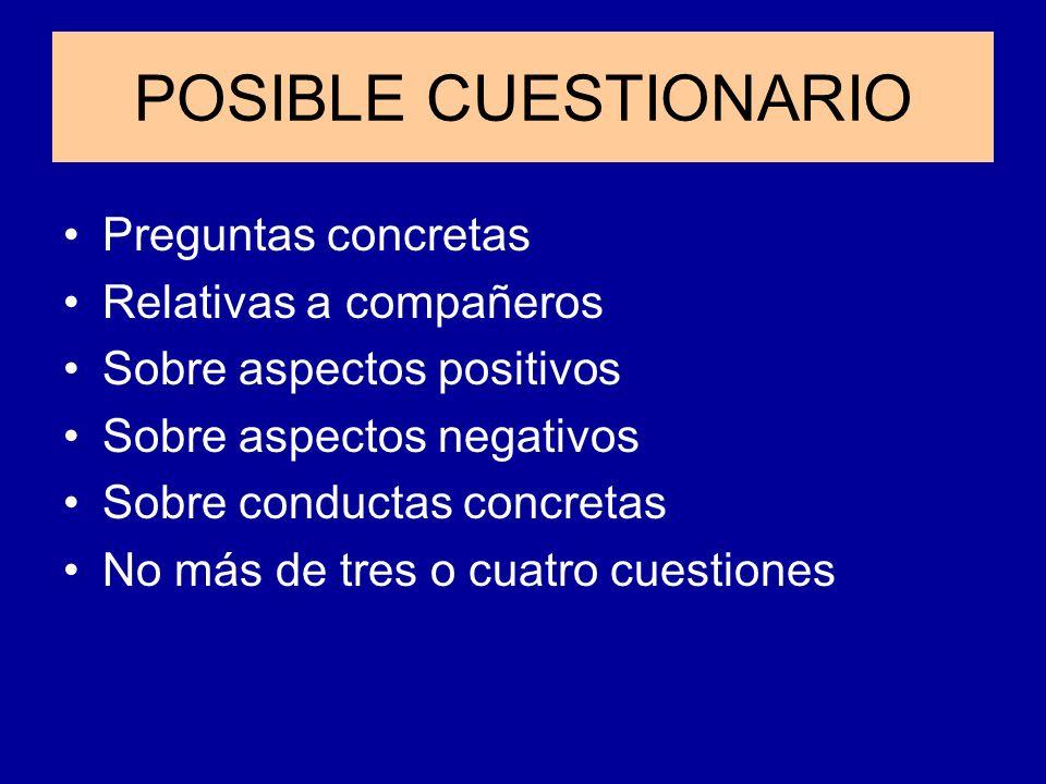 POSIBLE CUESTIONARIO Preguntas concretas Relativas a compañeros Sobre aspectos positivos Sobre aspectos negativos Sobre conductas concretas No más de
