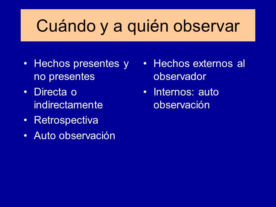 Hechos presentes y no presentes Directa o indirectamente Retrospectiva Auto observación Hechos externos al observador Internos: auto observación Cuánd