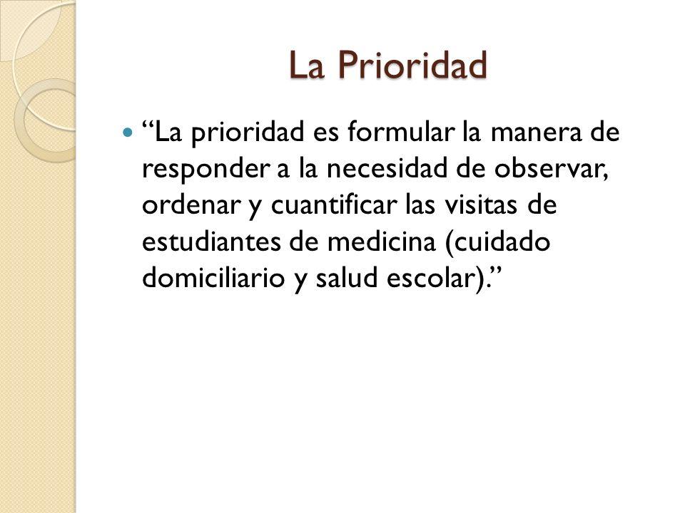 La Prioridad La prioridad es formular la manera de responder a la necesidad de observar, ordenar y cuantificar las visitas de estudiantes de medicina (cuidado domiciliario y salud escolar).
