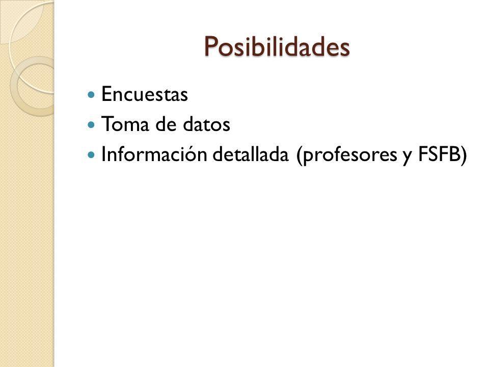 Posibilidades Encuestas Toma de datos Información detallada (profesores y FSFB)