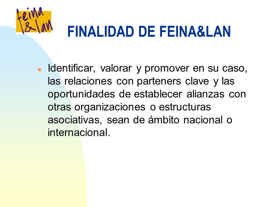 FINALIDAD DE FEINA&LAN n Identificar, valorar y promover en su caso, las relaciones con parteners clave y las oportunidades de establecer alianzas con