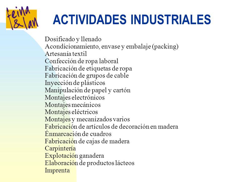 ACTIVIDADES INDUSTRIALES Dosificado y llenado Acondicionamiento, envase y embalaje (packing) Artesanía textil Confección de ropa laboral Fabricación d