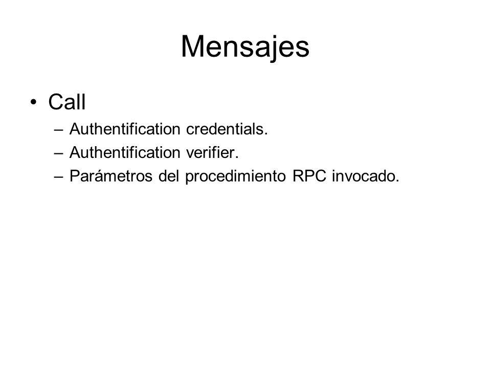 Mensajes Call –Authentification credentials. –Authentification verifier. –Parámetros del procedimiento RPC invocado.