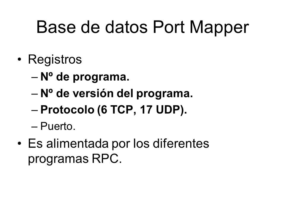Base de datos Port Mapper Registros –Nº de programa. –Nº de versión del programa. –Protocolo (6 TCP, 17 UDP). –Puerto. Es alimentada por los diferente
