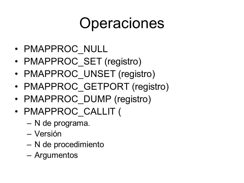 Operaciones PMAPPROC_NULL PMAPPROC_SET (registro) PMAPPROC_UNSET (registro) PMAPPROC_GETPORT (registro) PMAPPROC_DUMP (registro) PMAPPROC_CALLIT ( –N