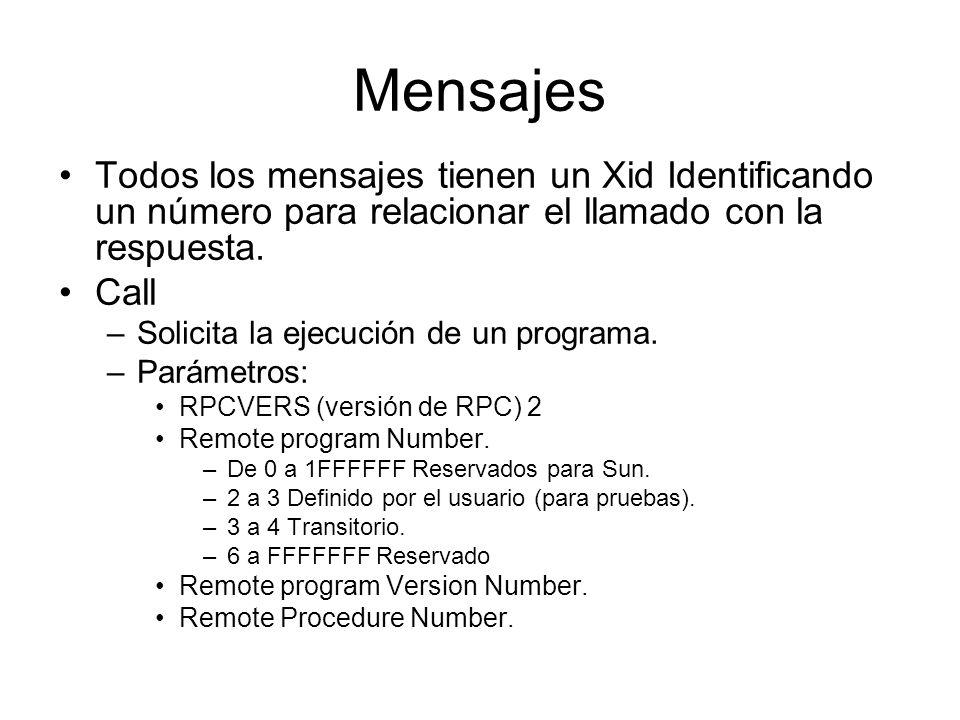 Mensajes Todos los mensajes tienen un Xid Identificando un número para relacionar el llamado con la respuesta. Call –Solicita la ejecución de un progr