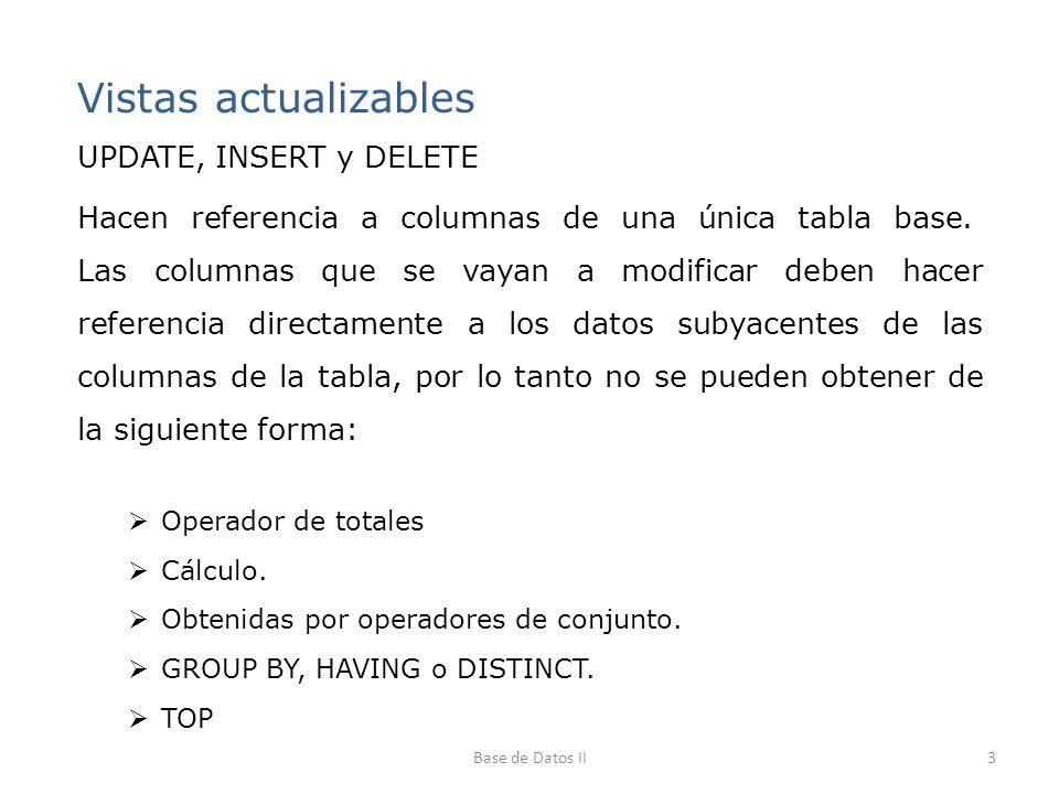 Vistas actualizables UPDATE, INSERT y DELETE Hacen referencia a columnas de una única tabla base. Las columnas que se vayan a modificar deben hacer re