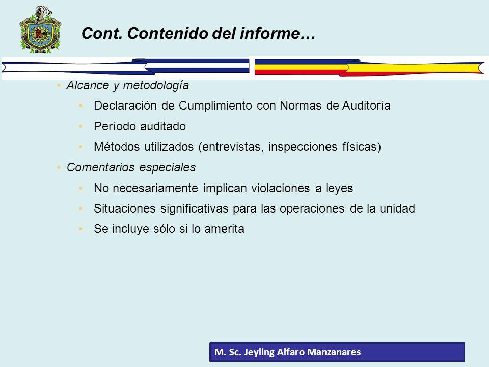 Alcance y metodología Declaración de Cumplimiento con Normas de Auditoría Período auditado Métodos utilizados (entrevistas, inspecciones físicas) Come