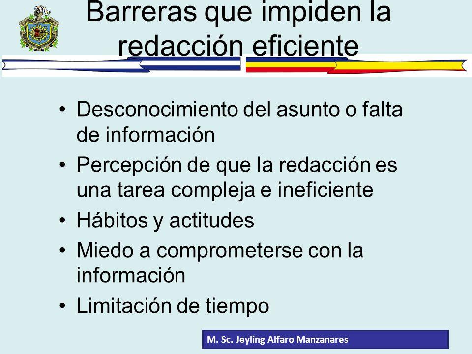 Barreras que impiden la redacción eficiente Desconocimiento del asunto o falta de información Percepción de que la redacción es una tarea compleja e i
