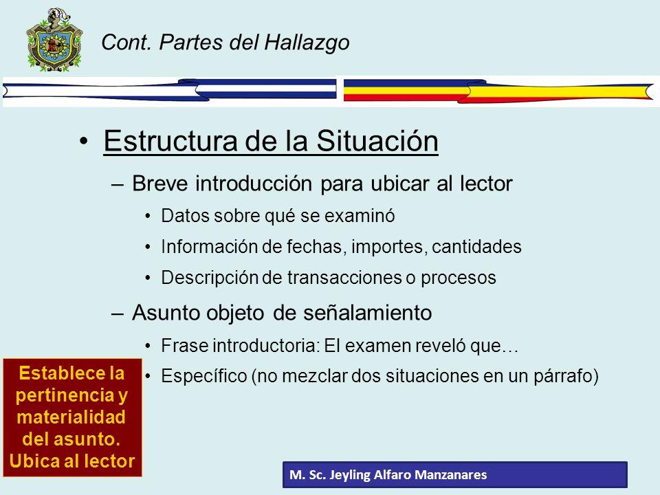 Cont. Partes del Hallazgo Estructura de la Situación –Breve introducción para ubicar al lector Datos sobre qué se examinó Información de fechas, impor