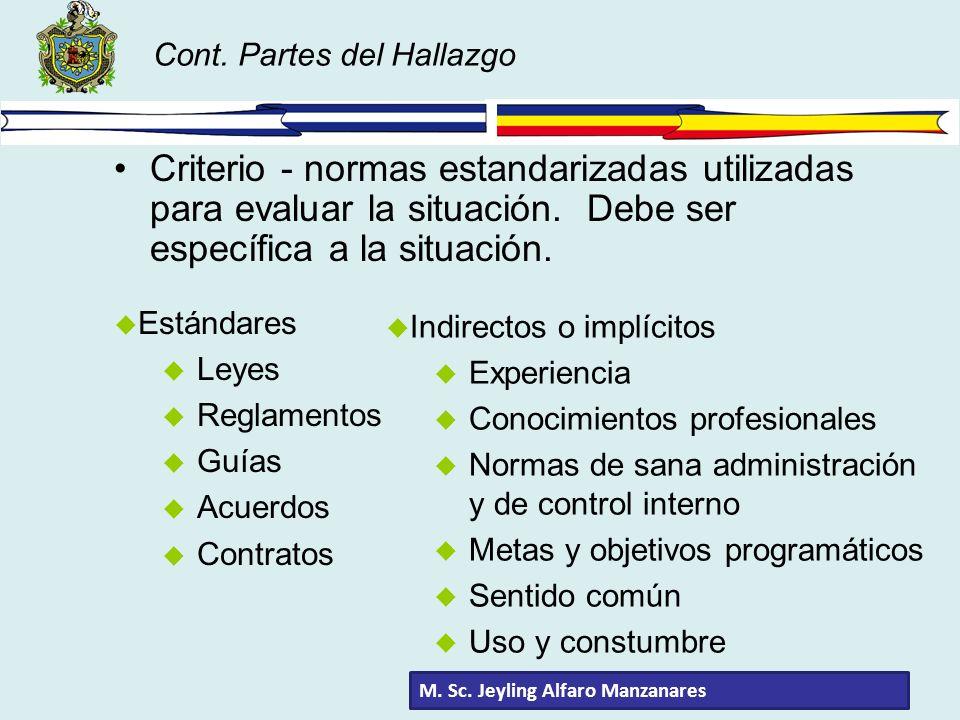 Cont. Partes del Hallazgo Criterio - normas estandarizadas utilizadas para evaluar la situación. Debe ser específica a la situación. u Estándares u Le