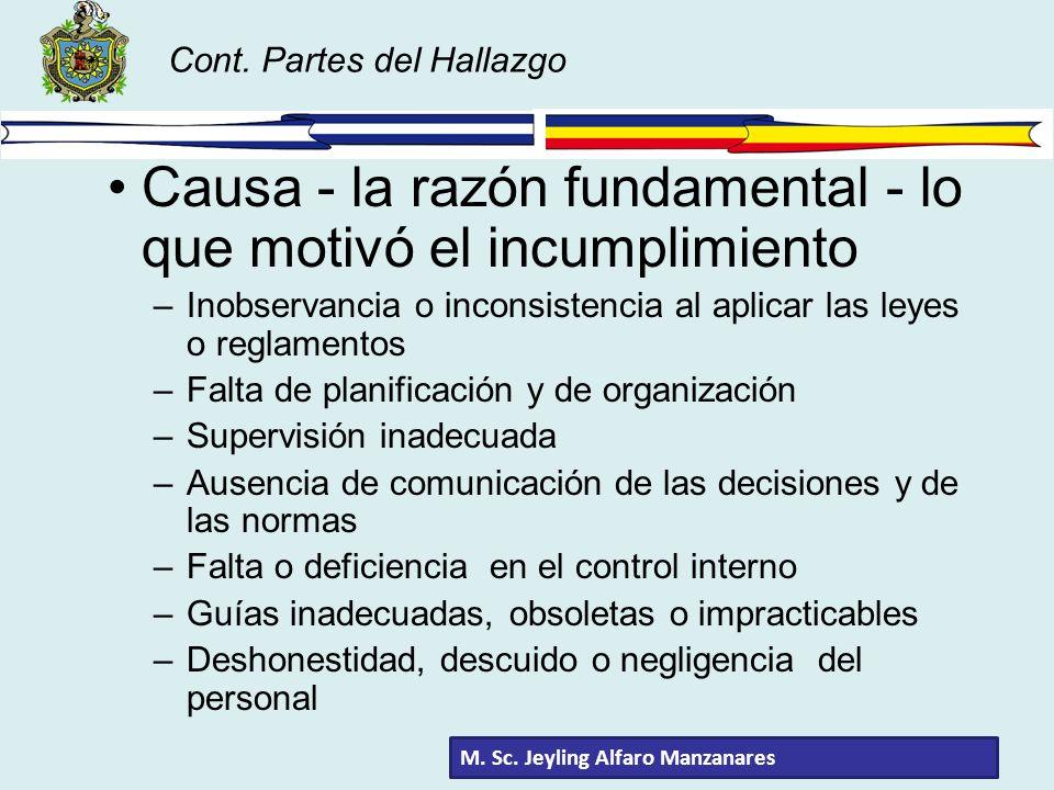 Cont. Partes del Hallazgo Causa - la razón fundamental - lo que motivó el incumplimiento –Inobservancia o inconsistencia al aplicar las leyes o reglam