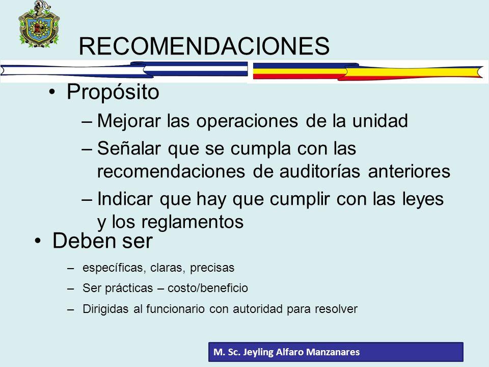RECOMENDACIONES Propósito –Mejorar las operaciones de la unidad –Señalar que se cumpla con las recomendaciones de auditorías anteriores –Indicar que h