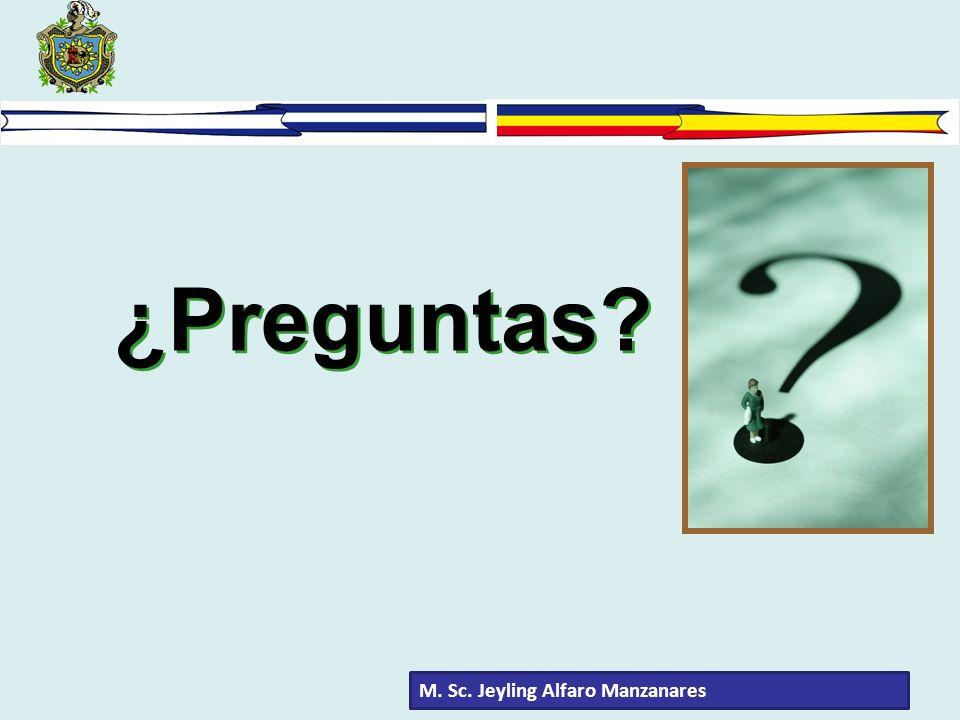 ¿Preguntas? M. Sc. Jeyling Alfaro Manzanares