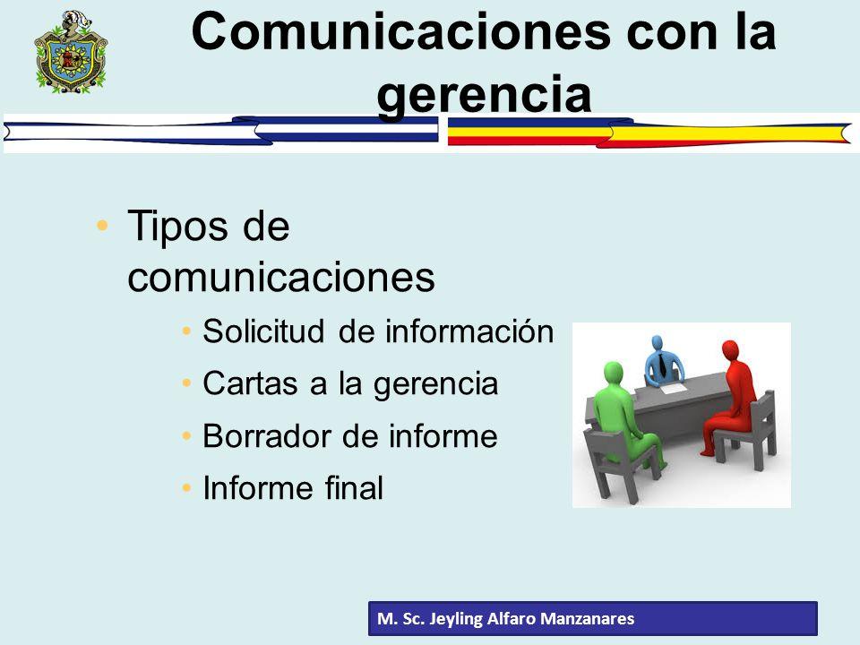 M. Sc. Jeyling Alfaro Manzanares Comunicaciones con la gerencia Tipos de comunicaciones Solicitud de información Cartas a la gerencia Borrador de info
