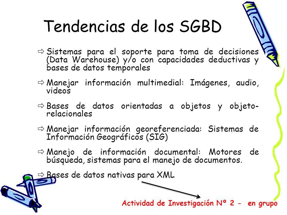 Tendencias de los SGBD Sistemas para el soporte para toma de decisiones (Data Warehouse) y/o con capacidades deductivas y bases de datos temporales Ma