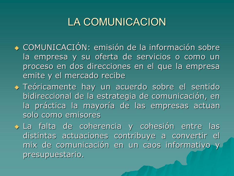 LA COMUNICACION COMUNICACIÓN: emisión de la información sobre la empresa y su oferta de servicios o como un proceso en dos direcciones en el que la em