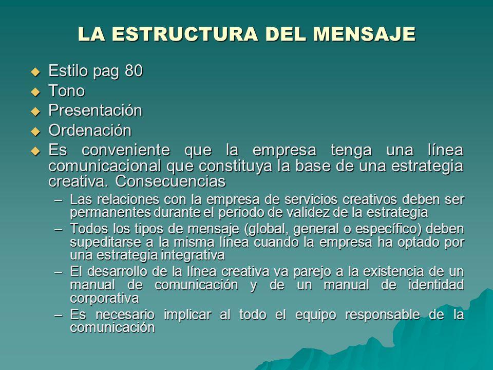 LA ESTRUCTURA DEL MENSAJE Estilo pag 80 Estilo pag 80 Tono Tono Presentación Presentación Ordenación Ordenación Es conveniente que la empresa tenga un