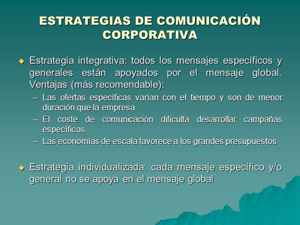 ESTRATEGIAS DE COMUNICACIÓN CORPORATIVA Estrategia integrativa: todos los mensajes específicos y generales están apoyados por el mensaje global. Venta