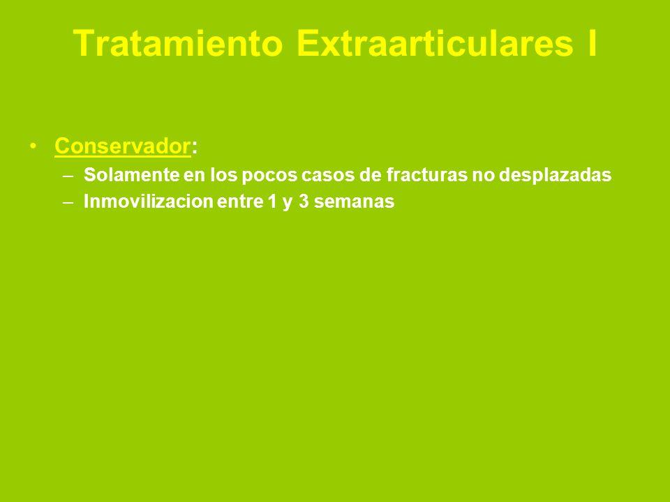 Tratamiento Extraarticulares II Reduccion a cielo cerrado: –Debe ser bajo analgesia y relajacion –Evaluar prudentemente el tipo de lesion –Traccion + flexion/extension –Colocacion de inmovilizacion.