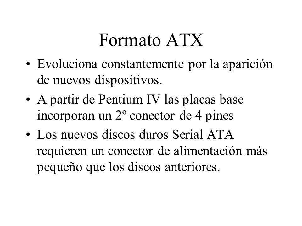 Formato ATX Evoluciona constantemente por la aparición de nuevos dispositivos. A partir de Pentium IV las placas base incorporan un 2º conector de 4 p