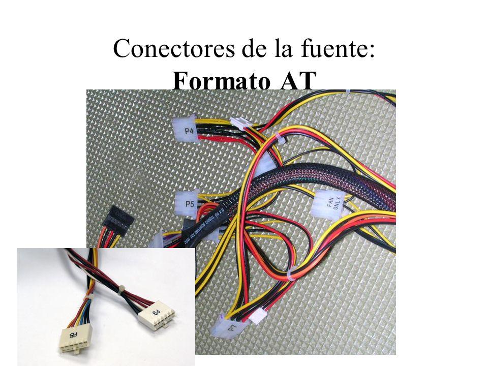 Conectores de la fuente, Formato AT: Conectores de la placa base Hay 2 conectores de 6 pines cada uno llamados P8 y P9.