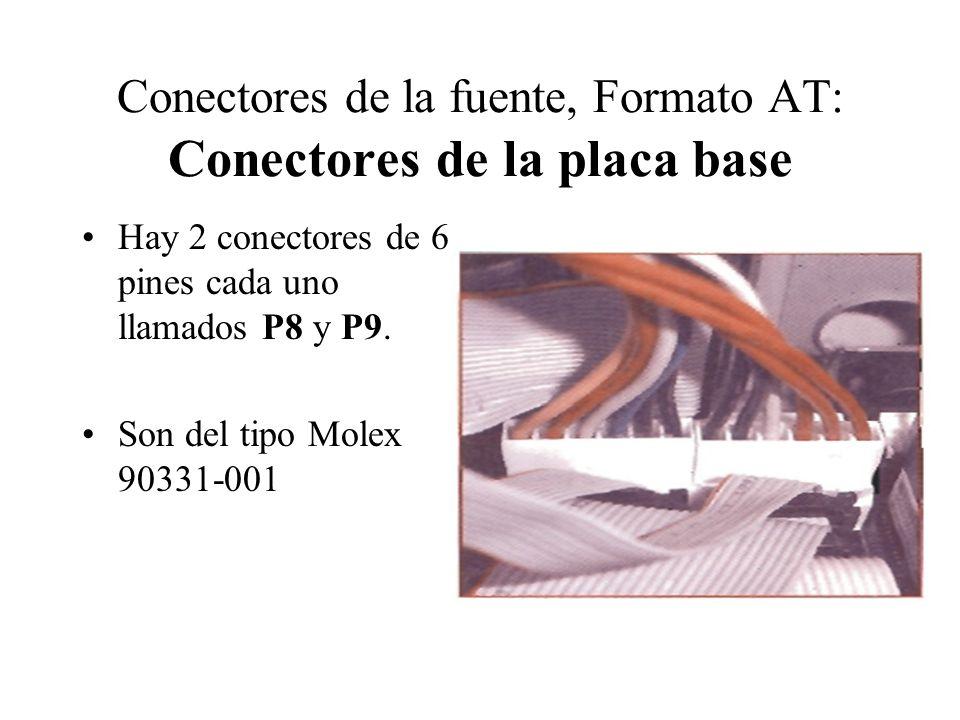 Conectores de la fuente, Formato AT: Conectores de la placa base Hay 2 conectores de 6 pines cada uno llamados P8 y P9. Son del tipo Molex 90331-001