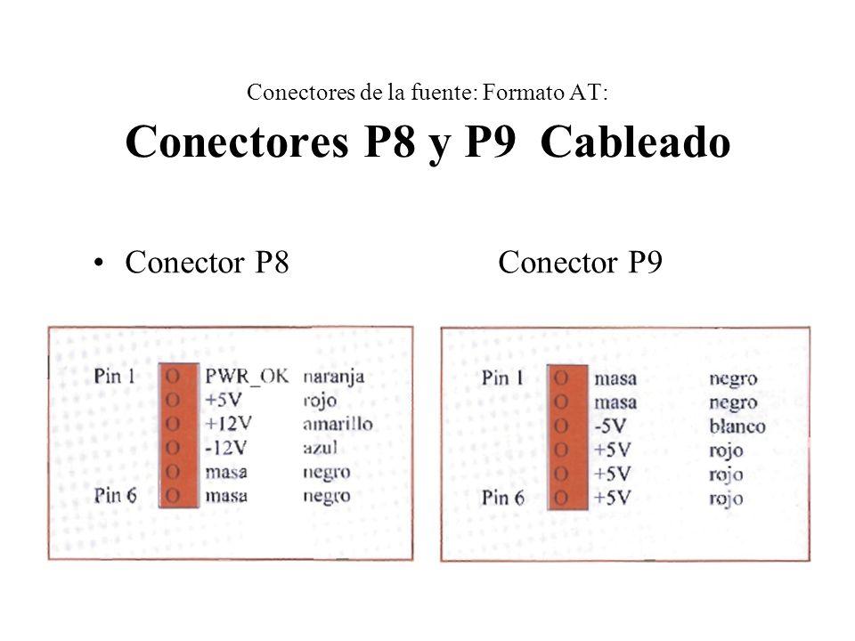 Conectores de la fuente: Formato AT: Conectores P8 y P9 Cableado Conector P8 Conector P9