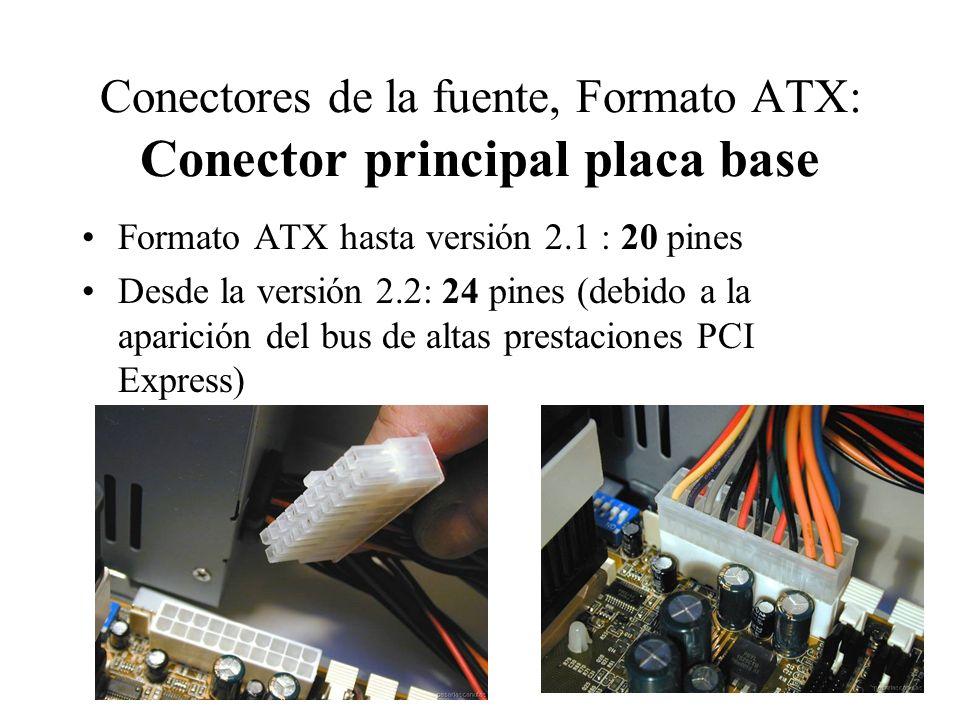 Conectores de la fuente, Formato ATX: Conector principal placa base Formato ATX hasta versión 2.1 : 20 pines Desde la versión 2.2: 24 pines (debido a