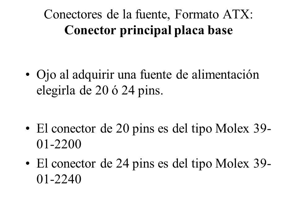 Conectores de la fuente, Formato ATX: Conector principal placa base La forma del conector impide que la conexión en la placa base se haga erroneamente.