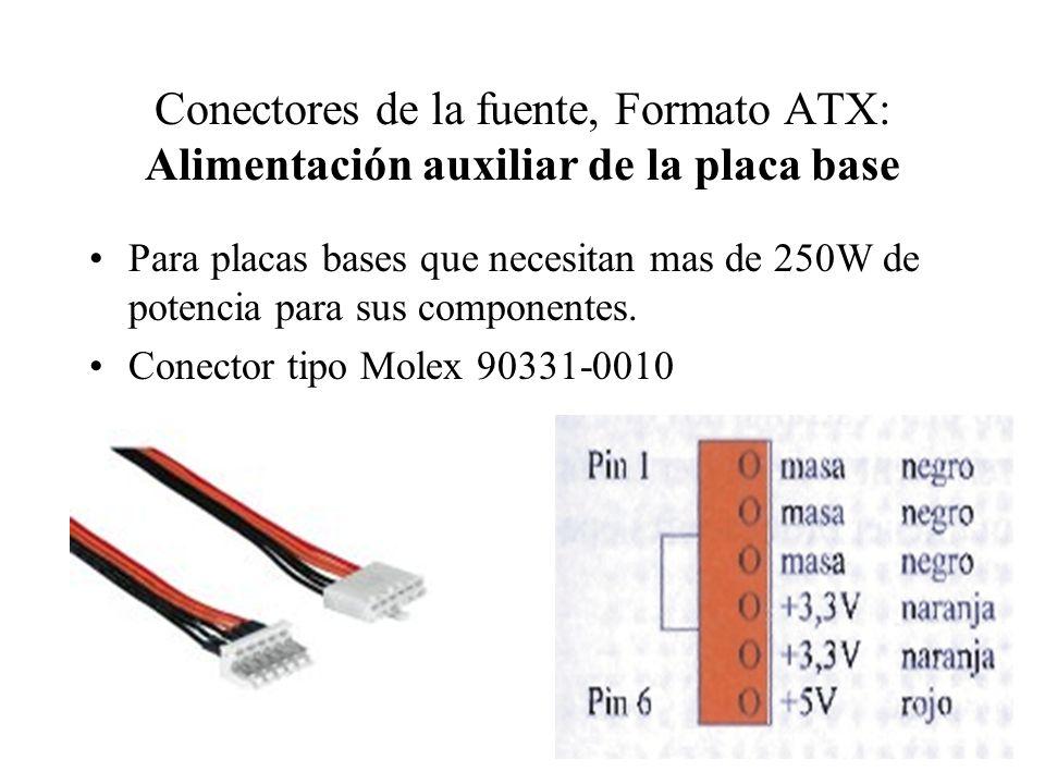 Conectores de la fuente, Formato ATX: Alimentación auxiliar de la placa base Para placas bases que necesitan mas de 250W de potencia para sus componen