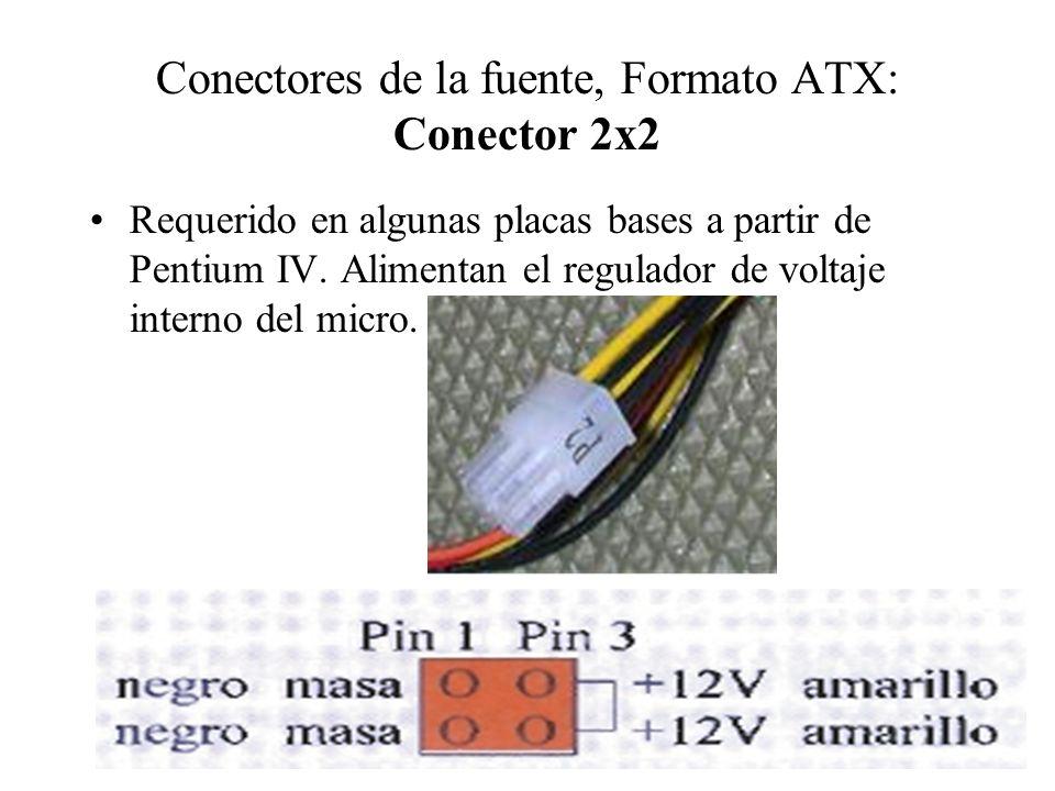 Conectores de la fuente, Formato ATX: Conector 2x2 Requerido en algunas placas bases a partir de Pentium IV. Alimentan el regulador de voltaje interno