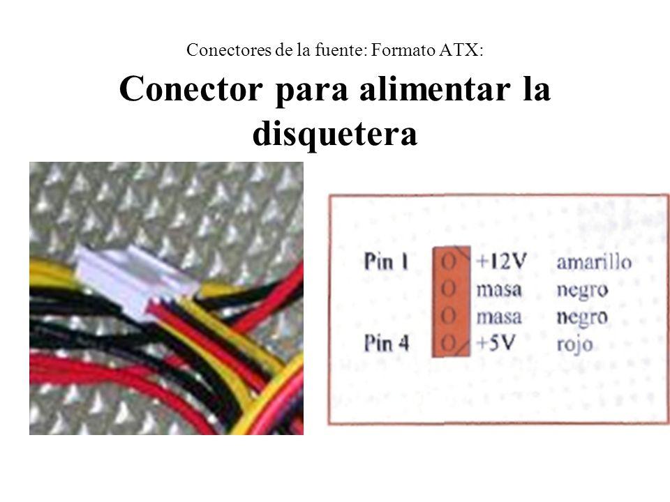 Conectores de la fuente: Formato ATX: Conector para alimentar la disquetera