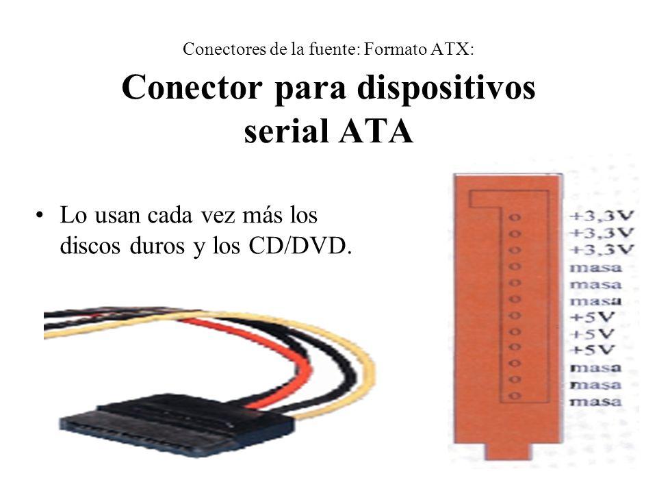 Conectores de la fuente: Formato ATX: Conector para dispositivos serial ATA Lo usan cada vez más los discos duros y los CD/DVD.