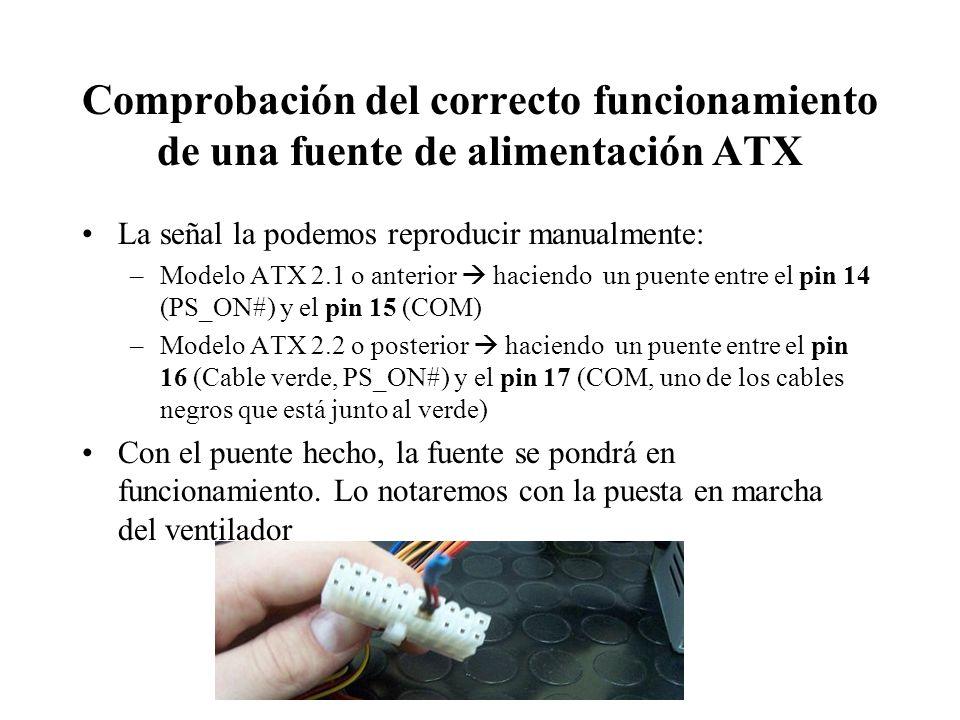 Comprobación del correcto funcionamiento de una fuente de alimentación ATX La señal la podemos reproducir manualmente: –Modelo ATX 2.1 o anterior haci