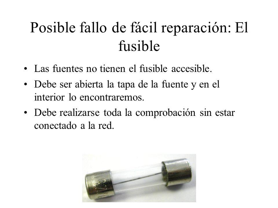 Posible fallo de fácil reparación: El fusible Las fuentes no tienen el fusible accesible. Debe ser abierta la tapa de la fuente y en el interior lo en