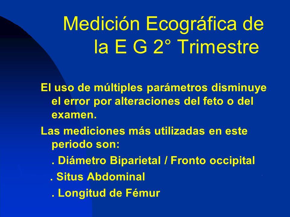 Medición Ecográfica de la E G 2° Trimestre El uso de múltiples parámetros disminuye el error por alteraciones del feto o del examen. Las mediciones má