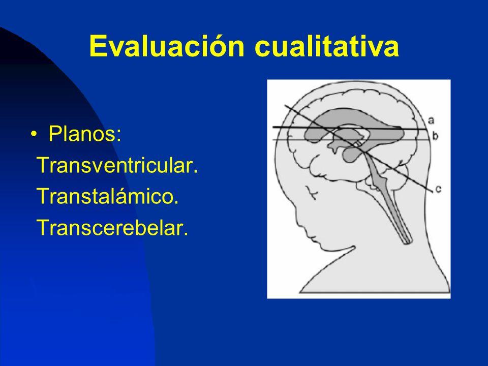 Evaluación cualitativa Planos: Transventricular. Transtalámico. Transcerebelar.