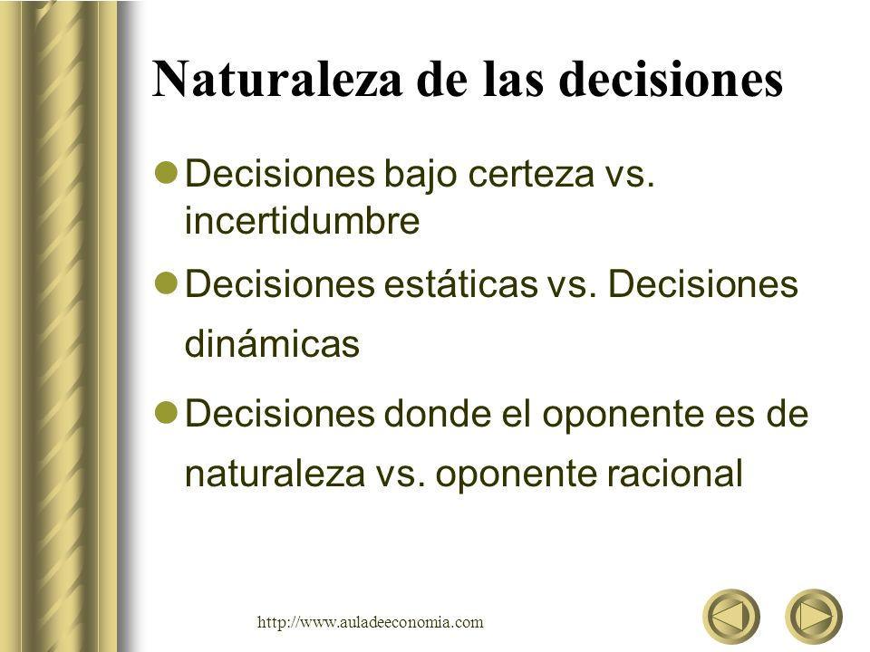 http://www.auladeeconomia.com Naturaleza de las decisiones Decisiones bajo certeza vs. incertidumbre Decisiones estáticas vs. Decisiones dinámicas Dec