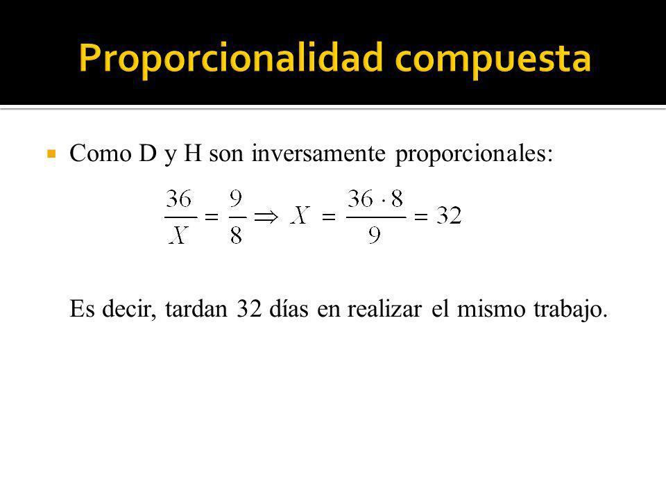 Como D y H son inversamente proporcionales: Es decir, tardan 32 días en realizar el mismo trabajo.