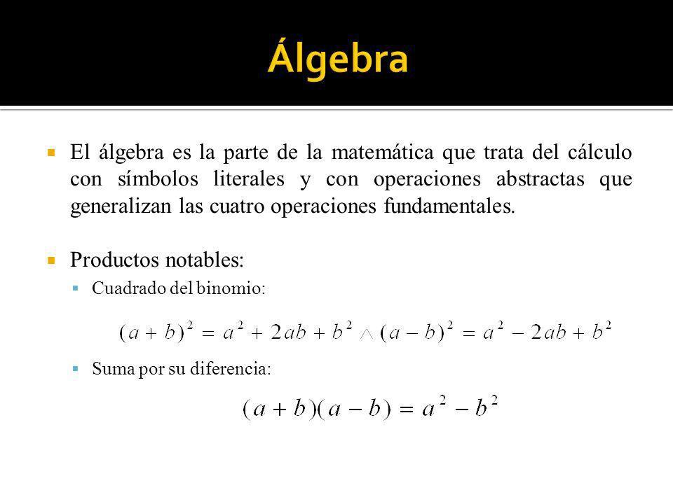 El álgebra es la parte de la matemática que trata del cálculo con símbolos literales y con operaciones abstractas que generalizan las cuatro operacion