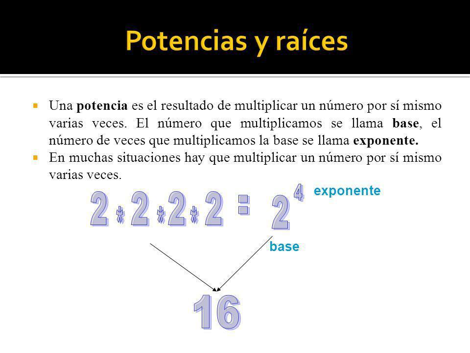 base exponente Una potencia es el resultado de multiplicar un número por sí mismo varias veces. El número que multiplicamos se llama base, el número d