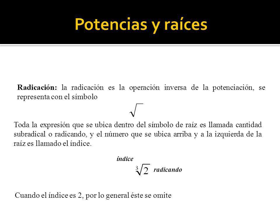 Radicación: la radicación es la operación inversa de la potenciación, se representa con el símbolo Toda la expresión que se ubica dentro del símbolo d