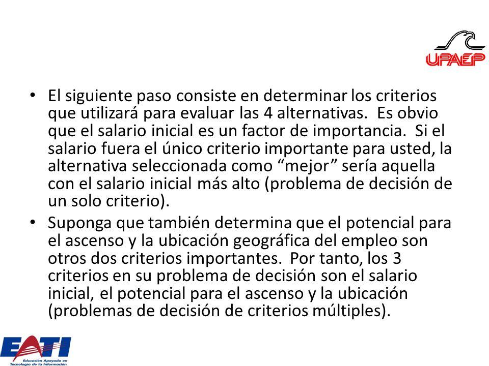 El siguiente paso consiste en determinar los criterios que utilizará para evaluar las 4 alternativas. Es obvio que el salario inicial es un factor de
