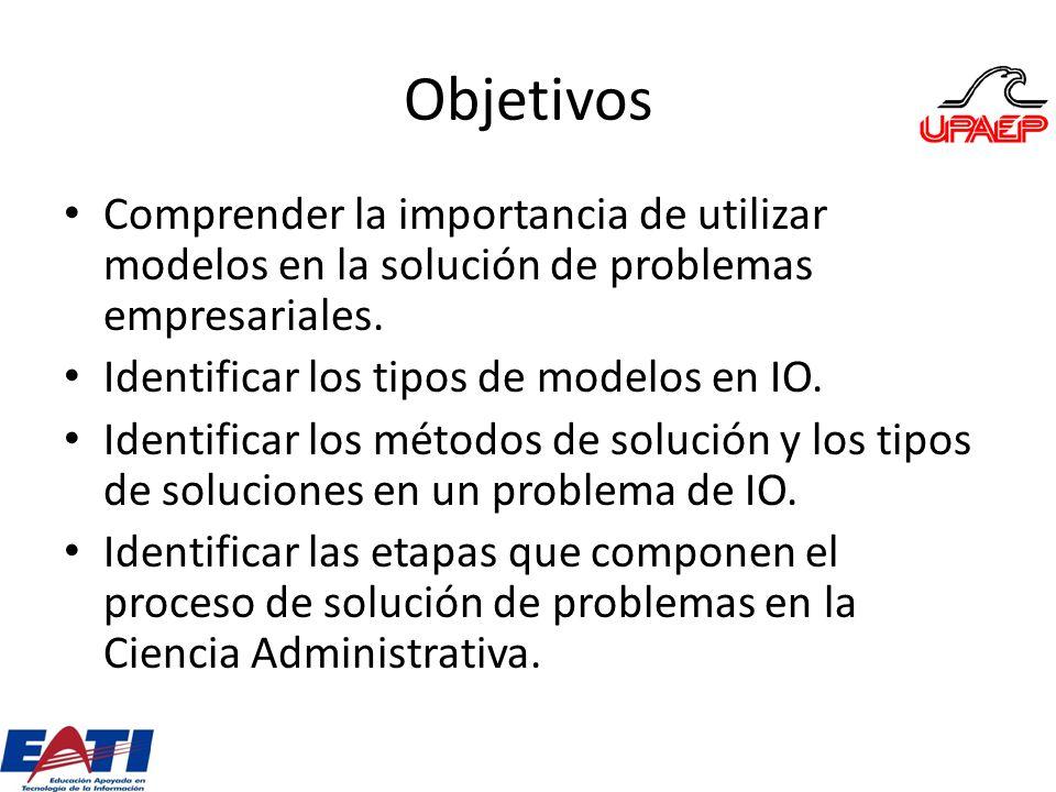Objetivos Comprender la importancia de utilizar modelos en la solución de problemas empresariales. Identificar los tipos de modelos en IO. Identificar
