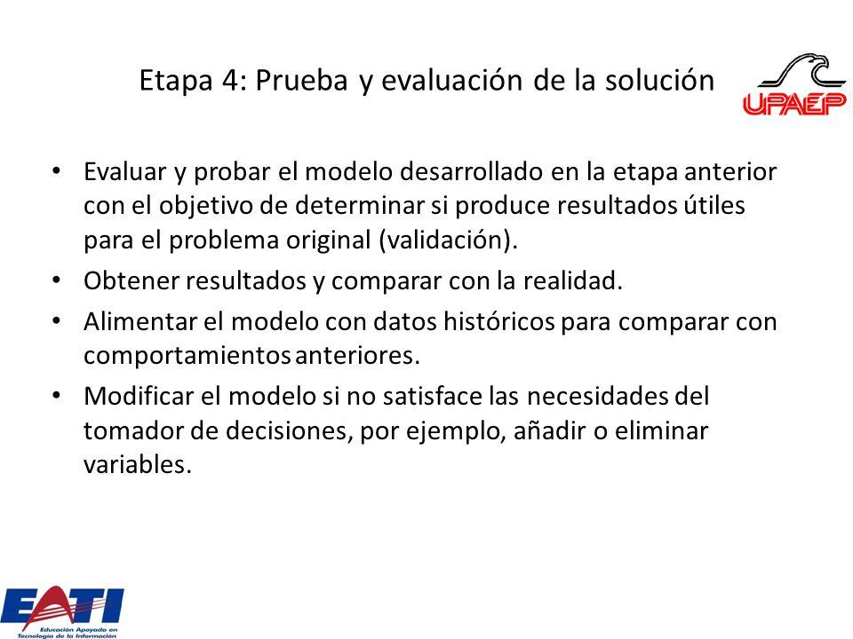 Etapa 4: Prueba y evaluación de la solución Evaluar y probar el modelo desarrollado en la etapa anterior con el objetivo de determinar si produce resu