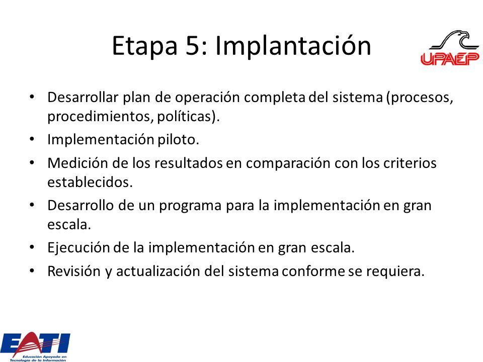 Etapa 5: Implantación Desarrollar plan de operación completa del sistema (procesos, procedimientos, políticas). Implementación piloto. Medición de los