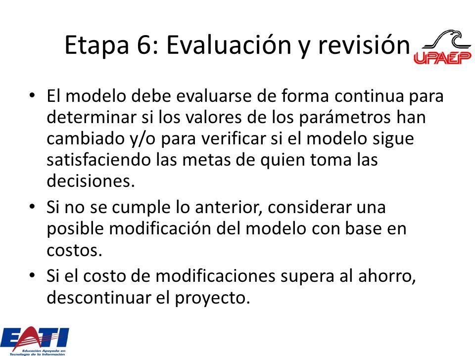 Etapa 6: Evaluación y revisión El modelo debe evaluarse de forma continua para determinar si los valores de los parámetros han cambiado y/o para verif
