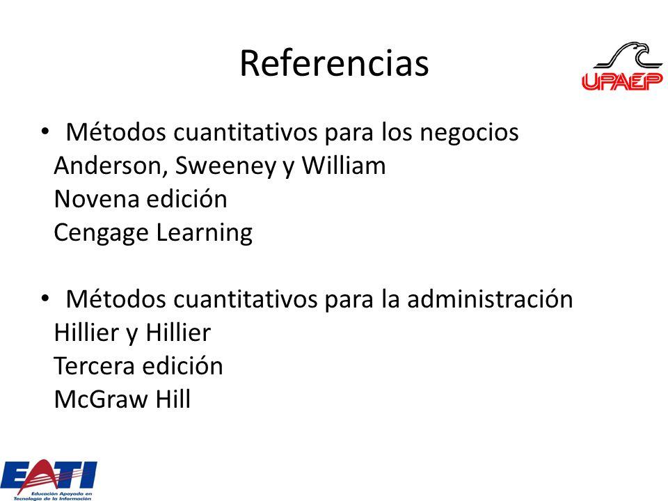 Referencias Métodos cuantitativos para los negocios Anderson, Sweeney y William Novena edición Cengage Learning Métodos cuantitativos para la administ