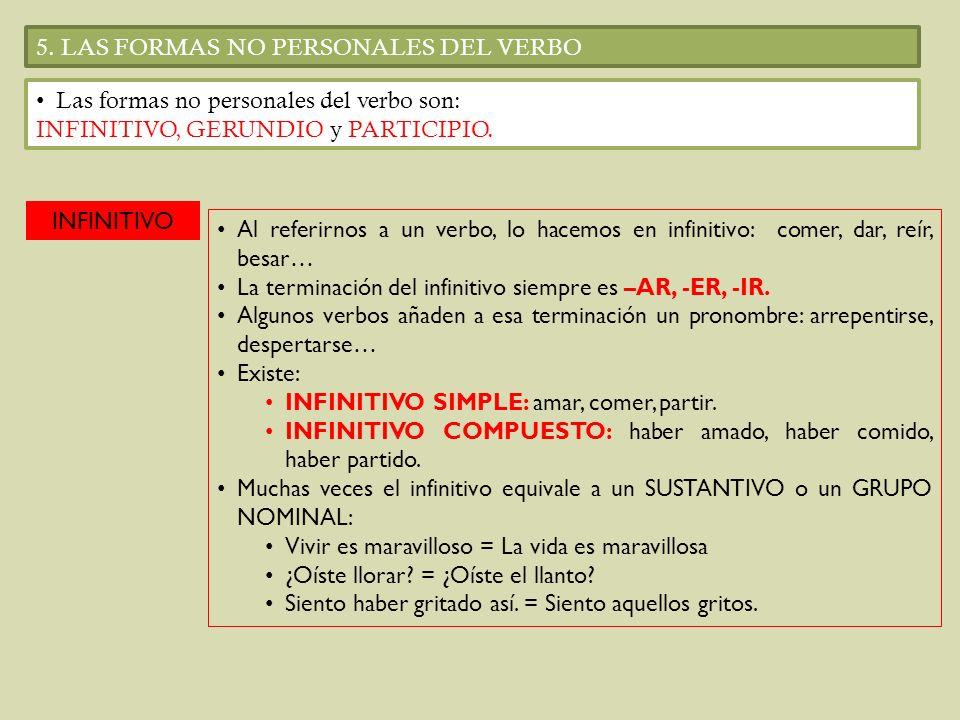 5. LAS FORMAS NO PERSONALES DEL VERBO Las formas no personales del verbo son: INFINITIVO, GERUNDIO y PARTICIPIO. INFINITIVO Al referirnos a un verbo,